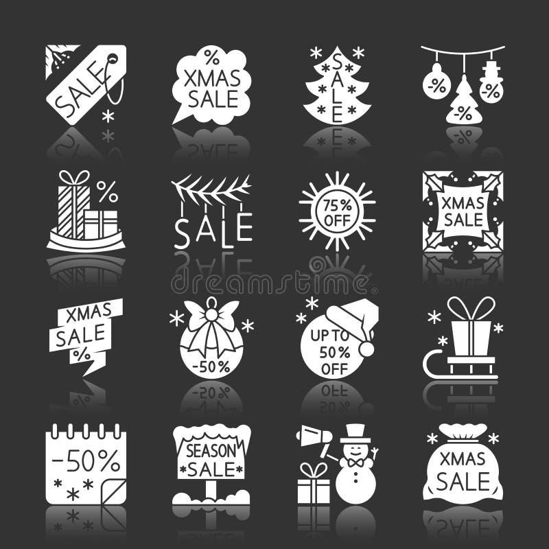 Icônes de monochrome de dégagement de vente de saison de Noël illustration stock