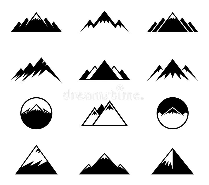 Icônes de montagnes de vecteur illustration stock