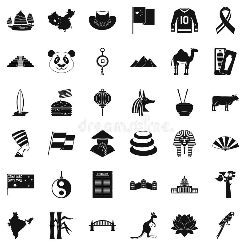 Icônes de monument réglées, style simple illustration stock