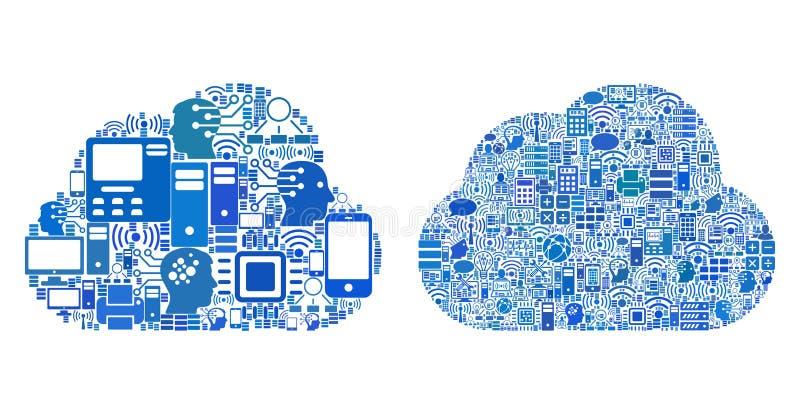 Icônes de mosaïque de Cloud Computing pour des illustrations de BigData illustration libre de droits