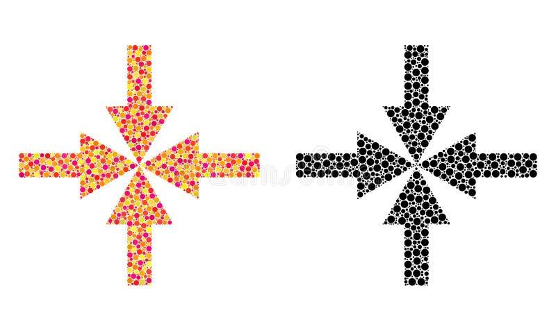 Icônes de mosaïque de flèches de compresse de pixel illustration libre de droits