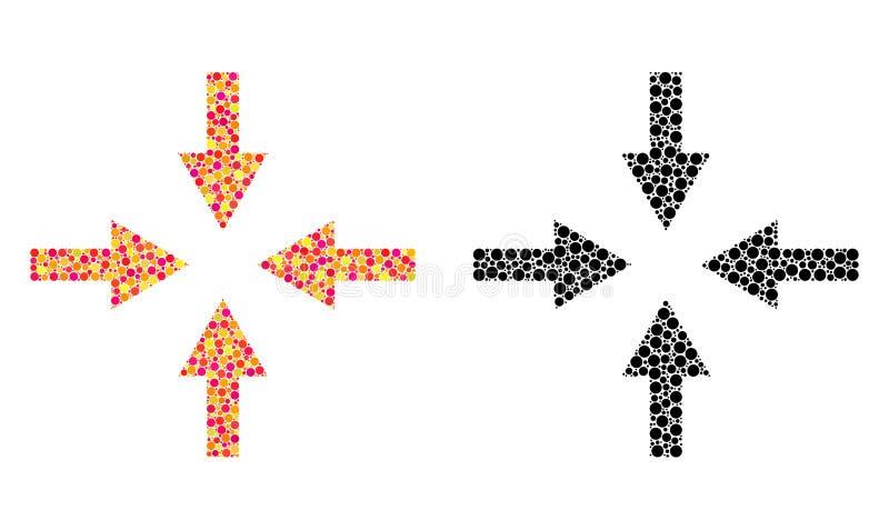 Icônes de mosaïque de flèches de compresse de pixel illustration stock