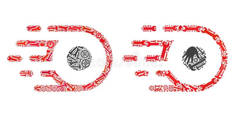 Icônes de mouvement de participe de mosaïque des outils de service illustration stock