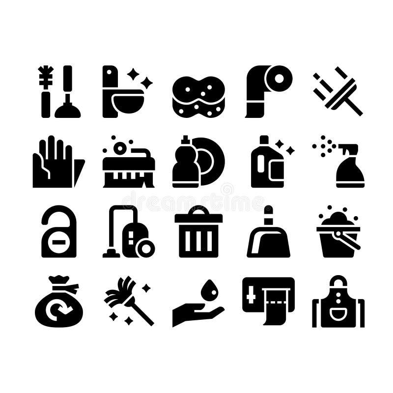 Icônes de nettoyage de glyph illustration de vecteur