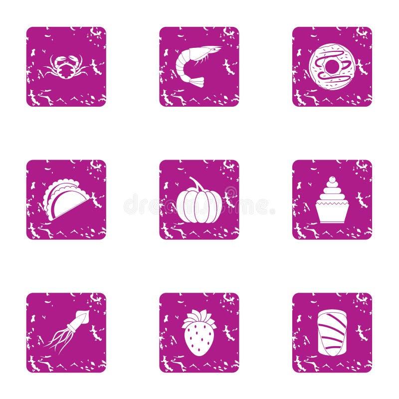 Icônes de nourriture de rivière réglées, style grunge illustration stock