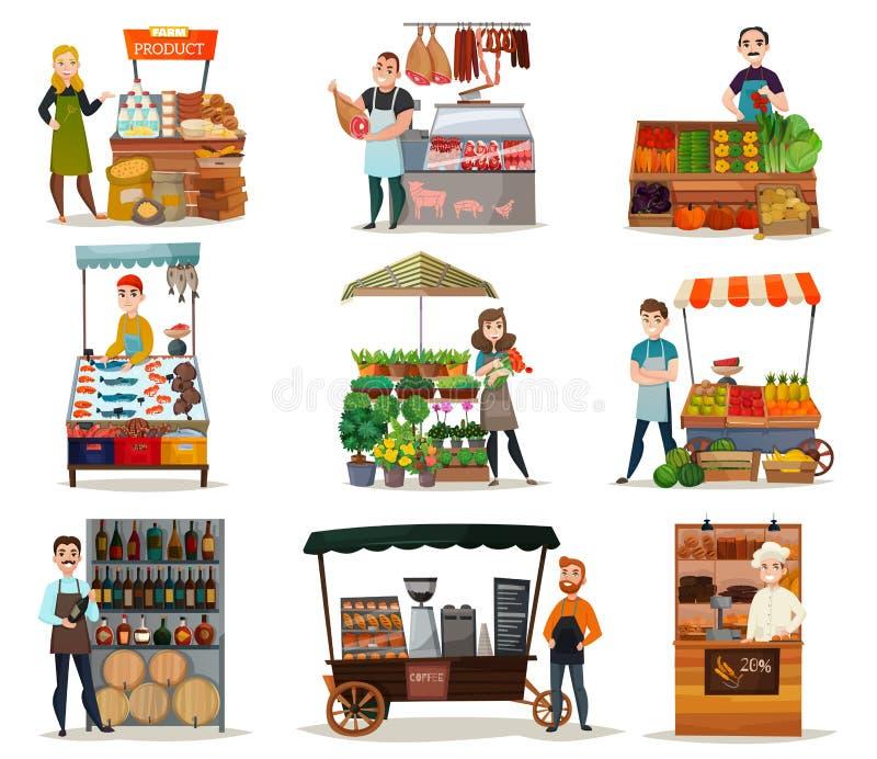 Icônes de nourriture de rue réglées illustration stock