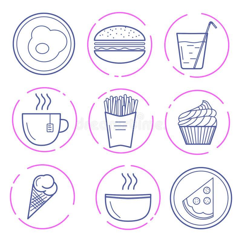 Icônes de nourriture de vecteur illustration libre de droits