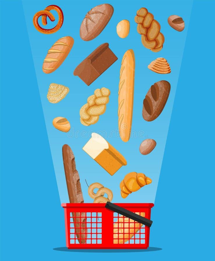 Icônes de pain et panier à provisions illustration stock