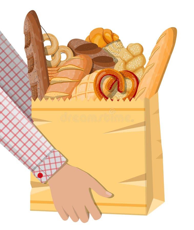 Icônes de pain et sac à provisions de papier illustration stock