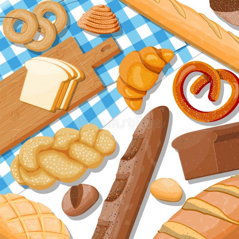 Icônes de pain réglées sur la table illustration de vecteur