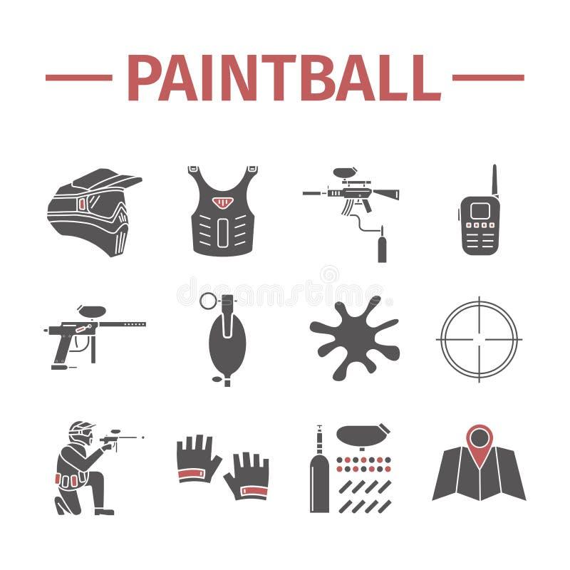Icônes de Paintball réglées Signes de vecteur illustration stock
