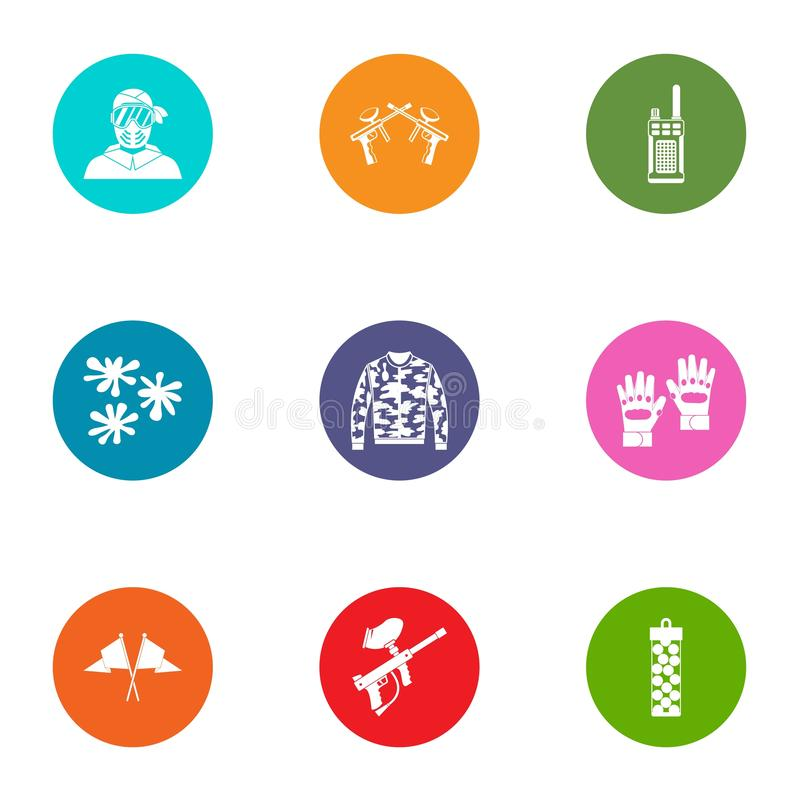 Icônes de Paintball réglées, style plat illustration libre de droits