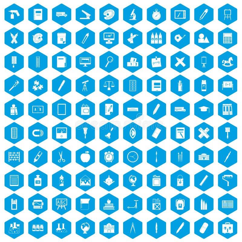 100 icônes de papeterie réglées bleues illustration de vecteur