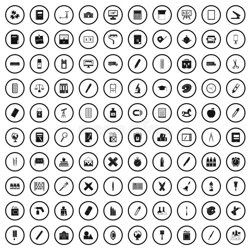 100 icônes de papeterie réglées, style simple illustration stock