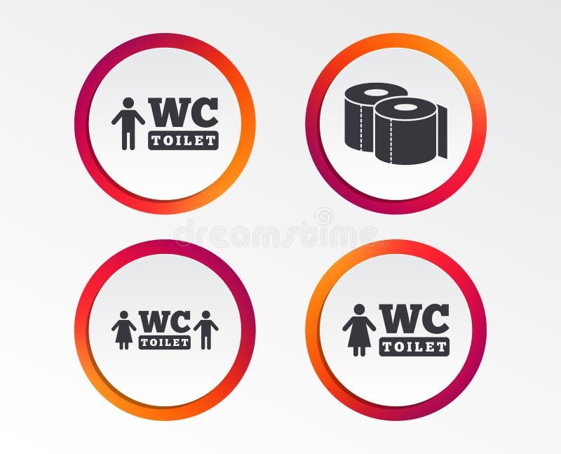 Icônes de papier hygiénique Monsieurs et toilettes pour dames illustration libre de droits