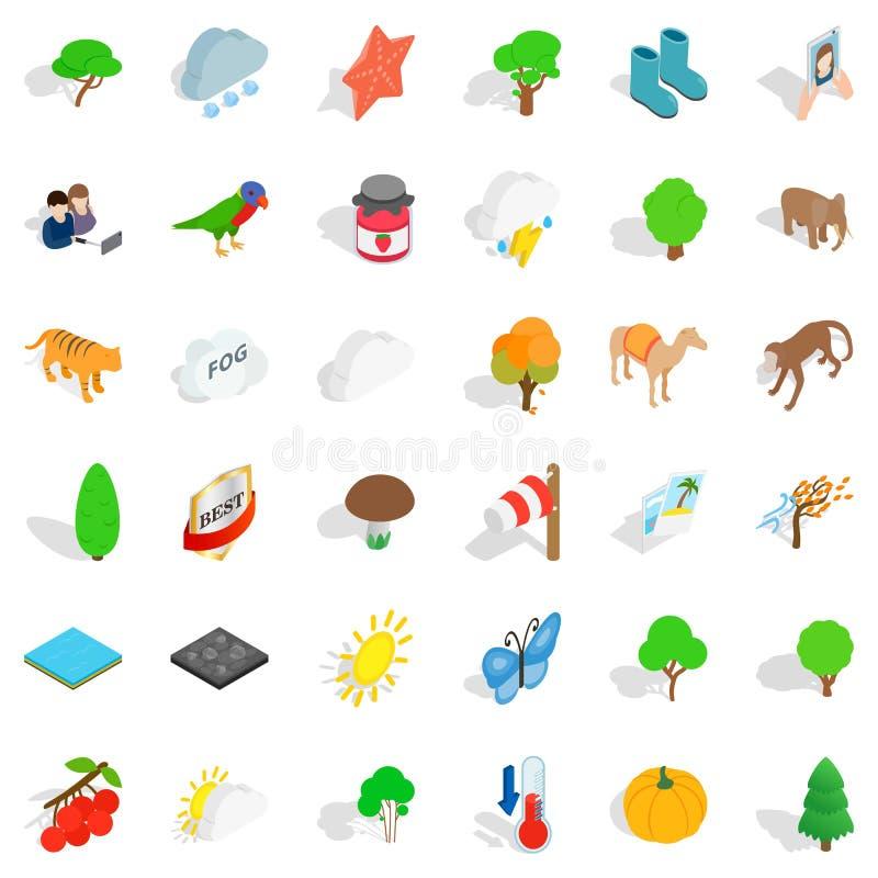 Icônes de paysage réglées, style isométrique illustration stock