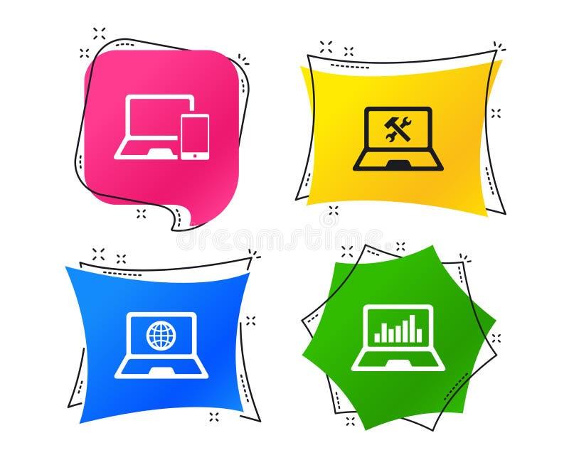 Icônes de PC d'ordinateur portable de carnet Réparez le service de difficulté Vecteur illustration de vecteur