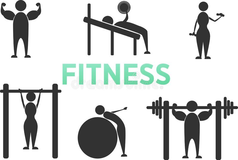 Icônes de pictogramme de chiffre de bâton de formation de forme physique d'exercice de séance d'entraînement de corps Homme et fe illustration stock