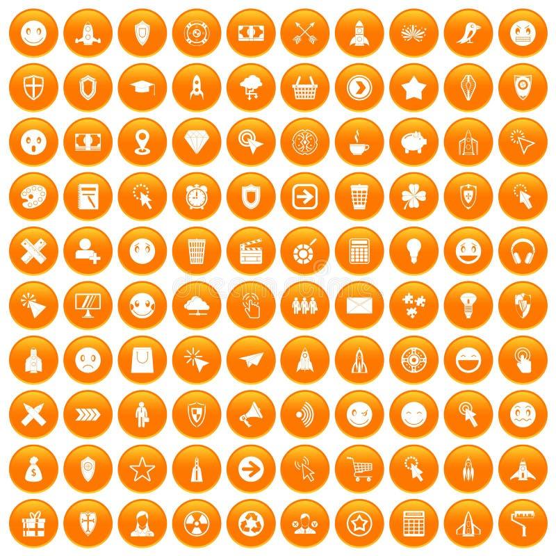 100 icônes de pictogramme d'interface réglées oranges illustration libre de droits