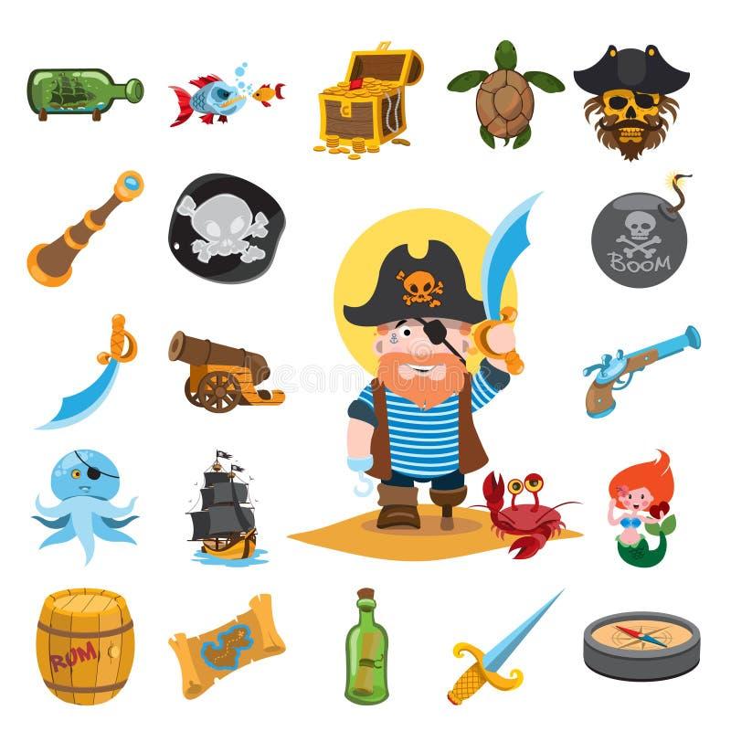 Icônes de pirate illustration libre de droits