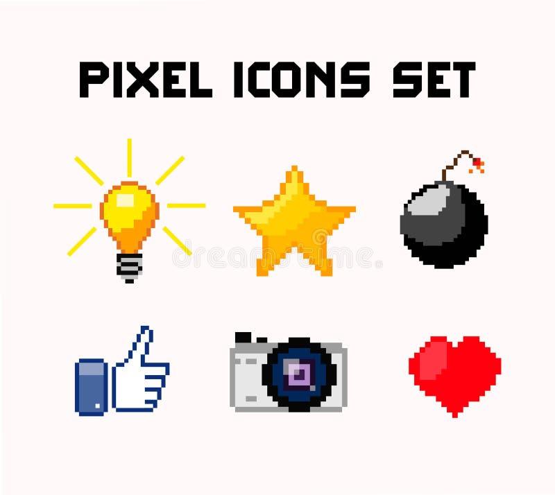Icônes de pixel réglées illustration de vecteur