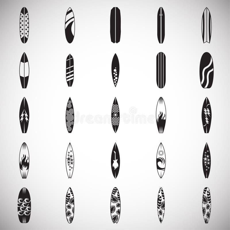 Icônes de planche de surf réglées sur le fond blanc pour le graphique et la conception web Signe simple de vecteur Symbole de con illustration de vecteur