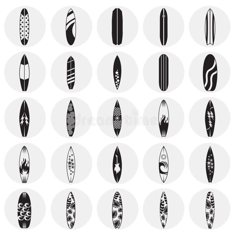 Icônes de planche de surf réglées sur le fond de cercles pour le graphique et la conception web Signe simple de vecteur Symbole d illustration libre de droits