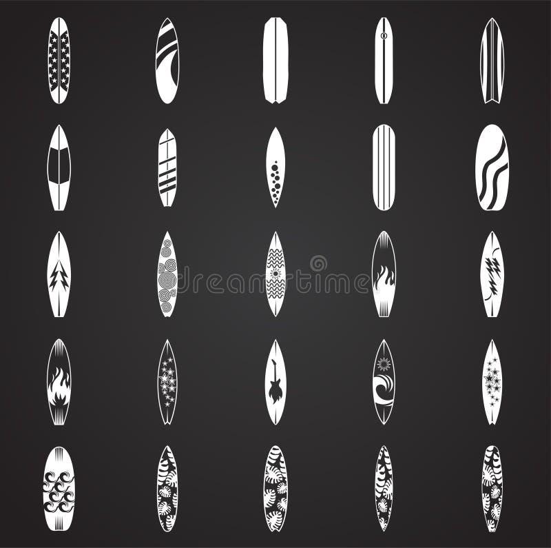 Icônes de planche de surf réglées sur le fond noir pour le graphique et la conception web Signe simple de vecteur Symbole de conc illustration de vecteur