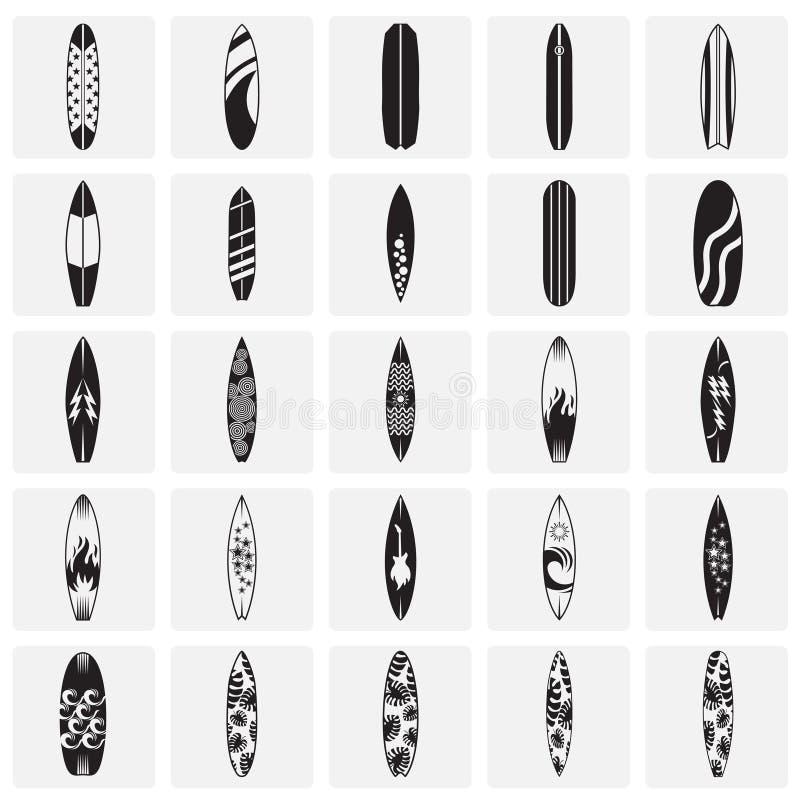 Icônes de planche de surf réglées sur le fond de places pour le graphique et la conception web Signe simple de vecteur Symbole de illustration stock