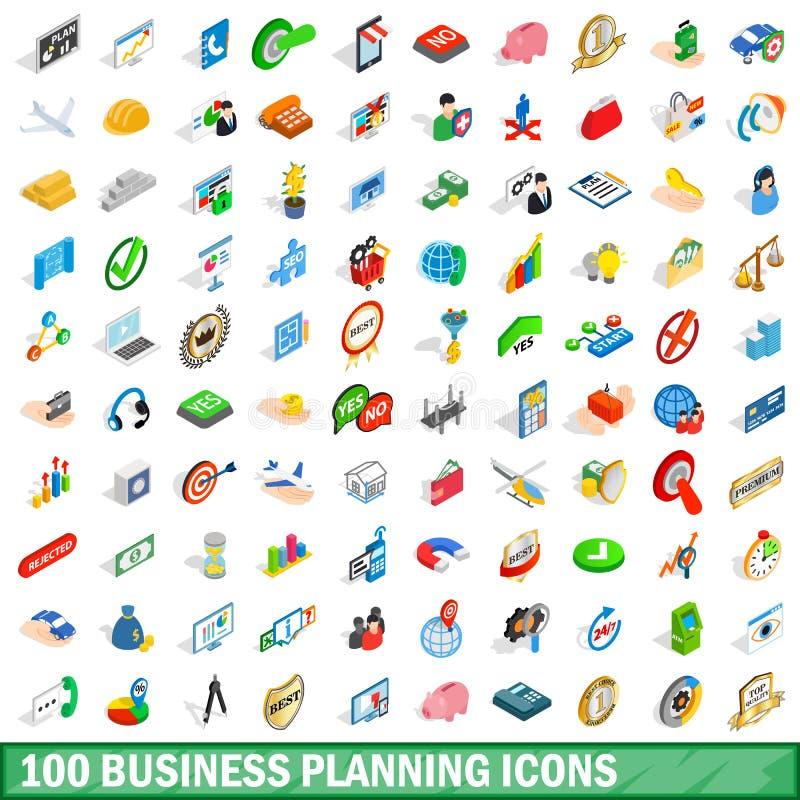 100 icônes de planification des affaires réglées, style isométrique illustration stock