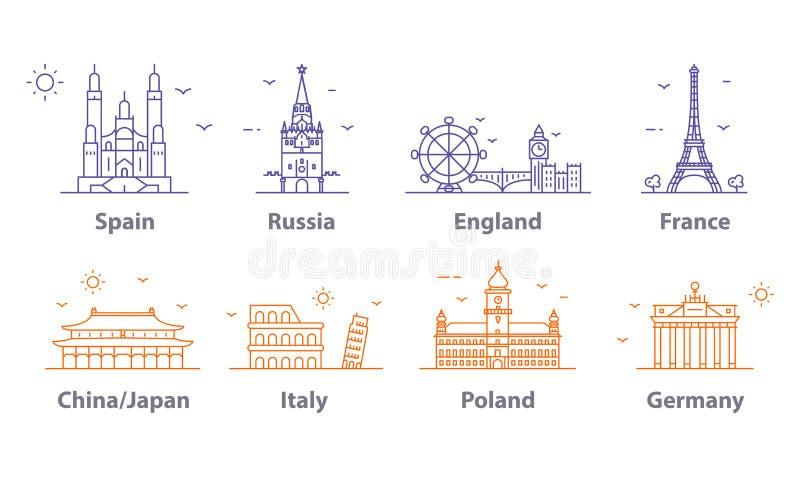 Icônes de points de repère réglées, symboles de capitaux du monde Paris et Londres, Moscou et l'Espagne, France et la Chine et pl illustration de vecteur