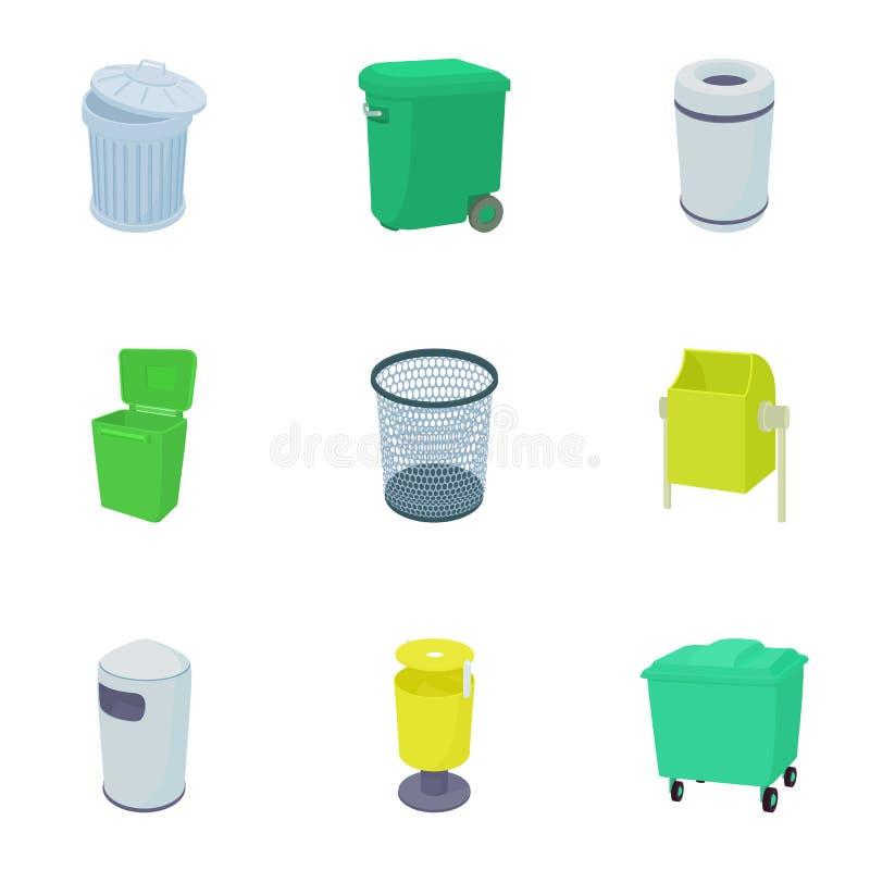 Icônes de poubelle de déchets réglées, style de bande dessinée illustration de vecteur