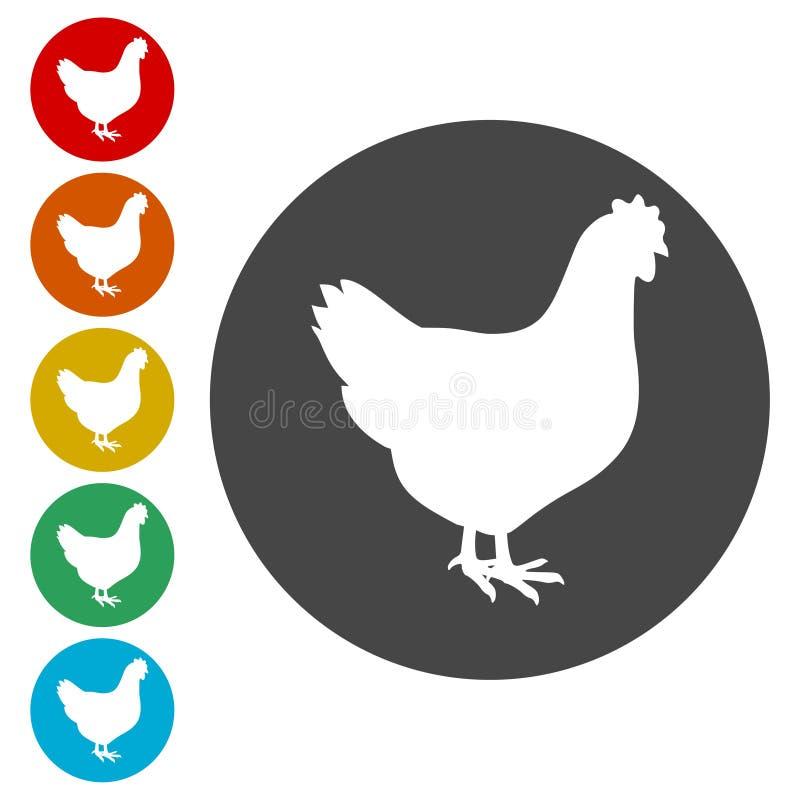 Icônes de poulet réglées illustration libre de droits