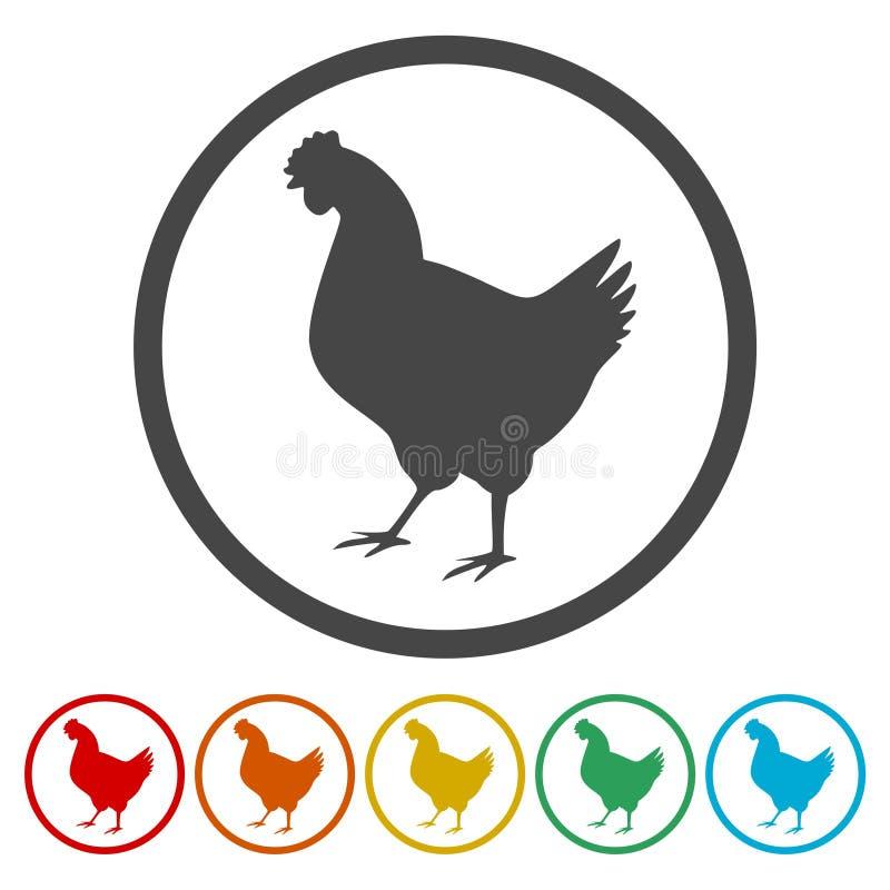 Icônes de poulet réglées illustration stock