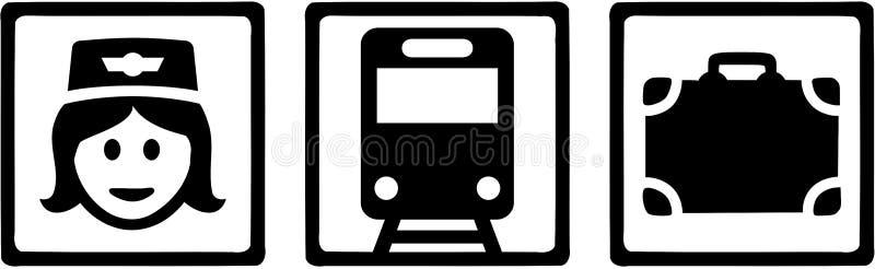 Icônes de préposé de train avec le train et la valise illustration de vecteur