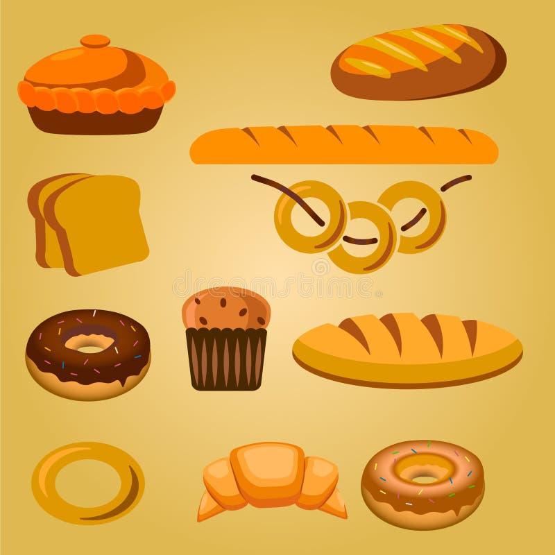Icônes de produits de boulangerie et de pâtisserie réglées avec de diverses sortes de pain, de petits pains doux, de petits gâtea illustration de vecteur