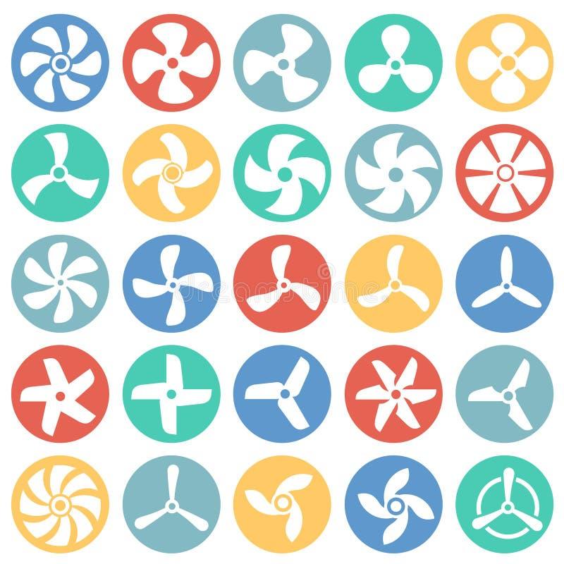 Icônes de propulseur réglées sur le fond blanc de cercles de couleur pour le graphique et la conception web Signe simple de vecte illustration de vecteur
