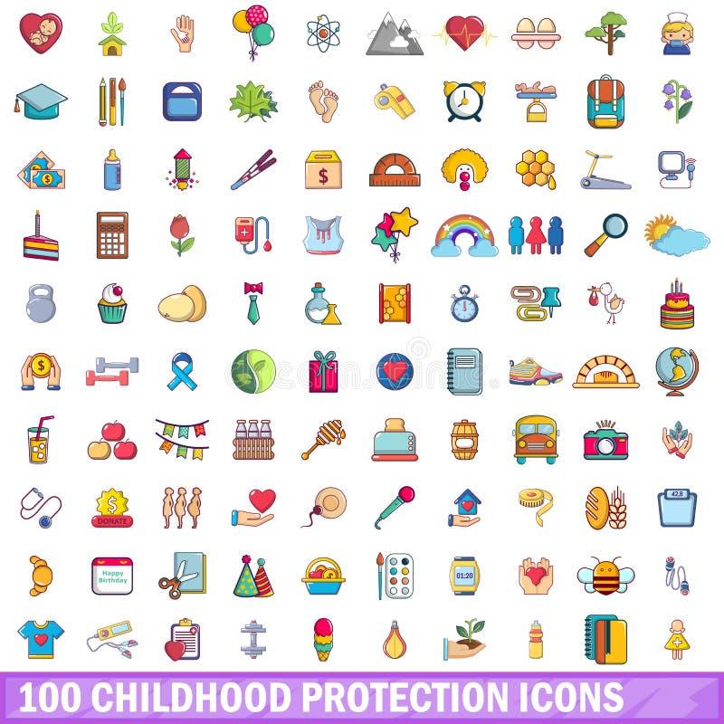 100 icônes de protection d'enfance réglées, style de bande dessinée illustration libre de droits