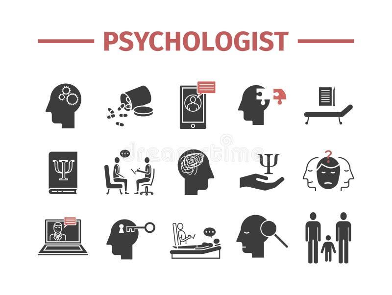 Icônes de psychologue réglées infographics conceptuel Consultation de la psychologie Signe de vecteur pour des graphiques de Web illustration stock