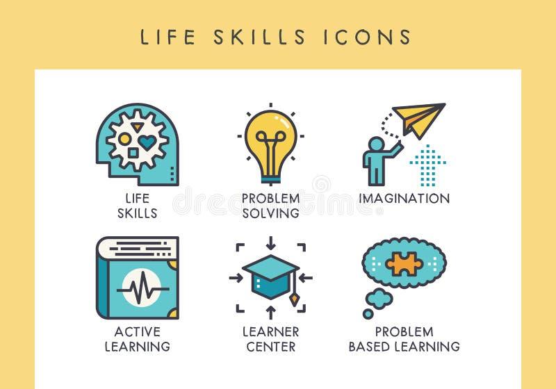 Icônes de qualifications de la vie illustration stock