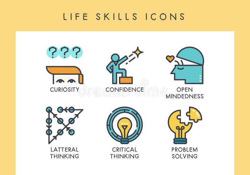 Icônes de qualifications de la vie illustration libre de droits