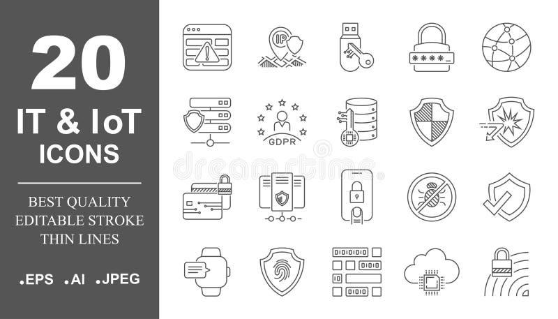 Icônes de réseau informatique, service informatique, IoT, technologie de mise en réseau d'AI, communication Course Editable ENV 1 illustration libre de droits