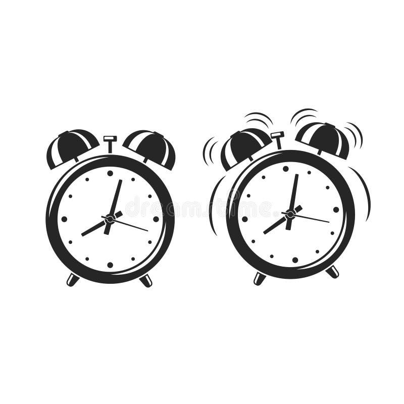 Icônes de réveil se tenant et sonnant pour réveiller le temps d'isolement sur le fond blanc Rétro horloge de bande dessinée de st illustration stock