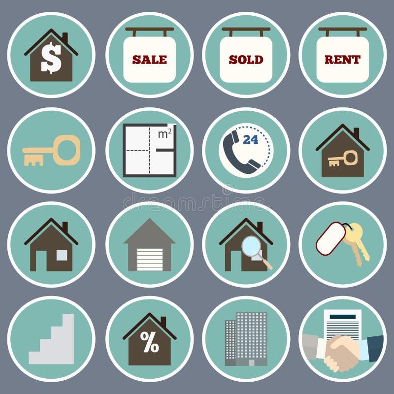 Icônes de Real Estate illustration de vecteur