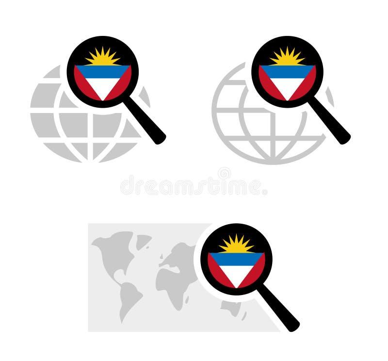 Icônes de recherche avec le drapeau d'Antigua et de Barbuda illustration libre de droits