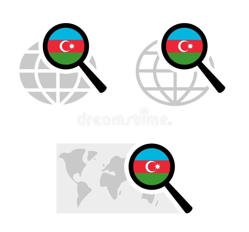 Icônes de recherche avec le drapeau de l'Azerbaïdjan illustration de vecteur