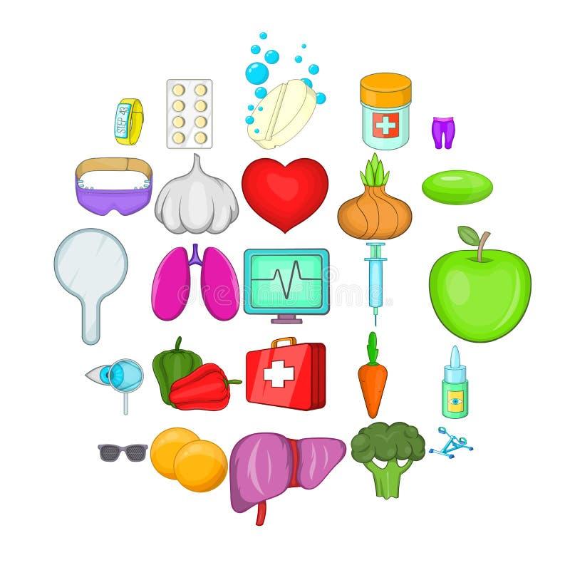 Icônes de remèdes de gens réglées, style de bande dessinée illustration de vecteur