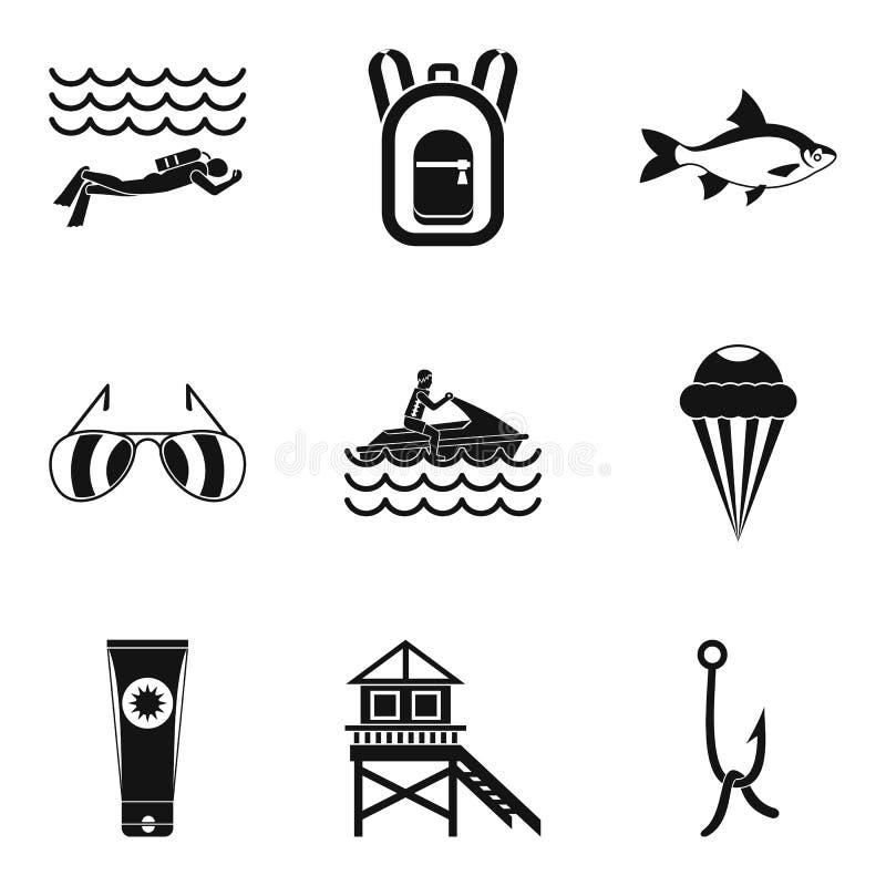 Icônes de repos de rivière réglées, style simple illustration de vecteur