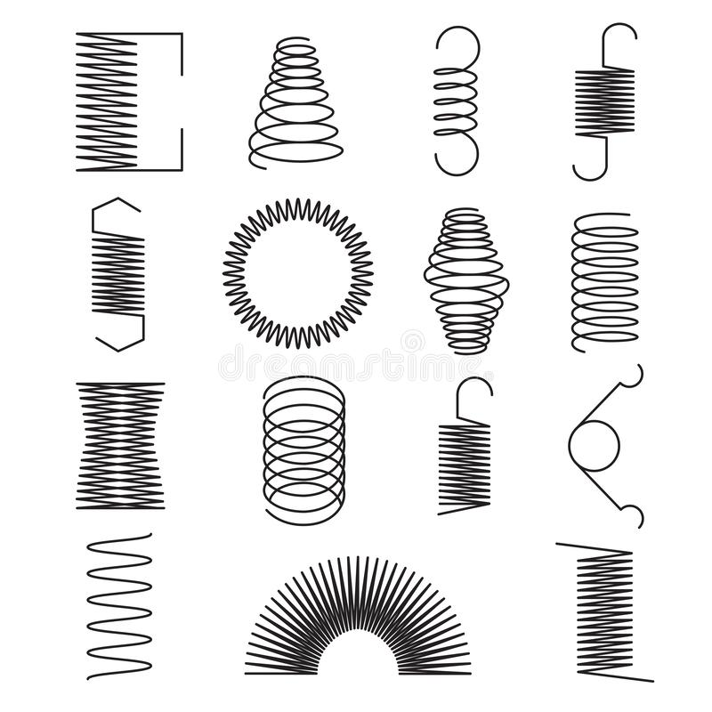 Icônes de ressort en métal Les lignes en spirale flexibles, le fil d'acier love des symboles d'isolement de vecteur illustration de vecteur