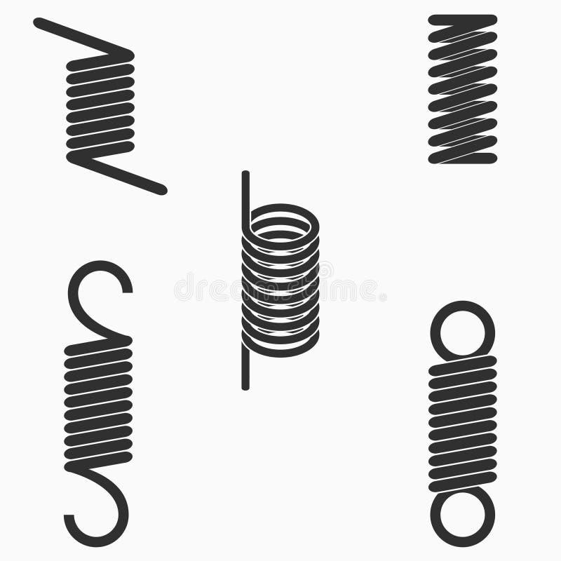 Icônes de ressorts en spirale de fil de métal flexible réglées Vecteur illustration libre de droits